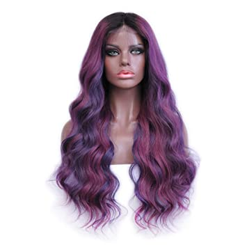 Ombre Human Hair Lace Front Wig 180Density Brazilian Glueless Purple Pink Color Balayage Style