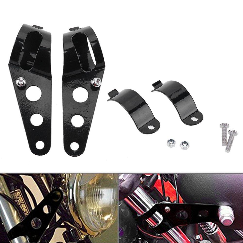 KaTur Universal 31mm-39mm Scheinwerferhalter Gabel Ohr Motorrad Chopper Cafe Racer Schwarz