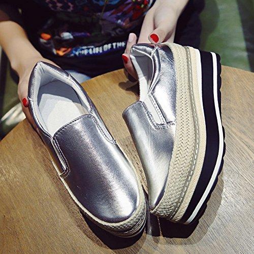 KPHY-Der neue Fall Dicke einzelne Schuhe weibliche koreanische Version des Strohs Sisal Schwamm Kuchen den faulen knochen Schuhe Studenten sind die weiblichen Schuhe 38 Silber zu erhöhen.