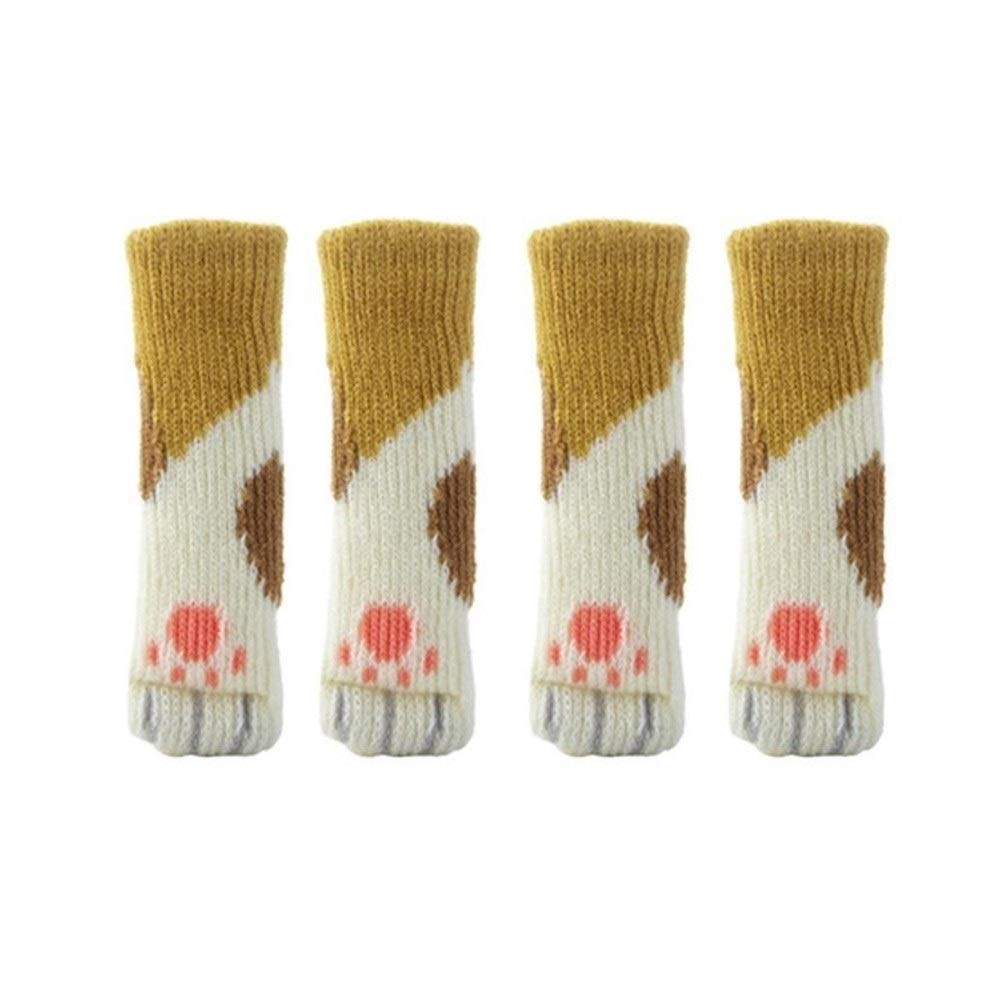 YUELANG Sch/öne 4 St/ücke Katzenf/ü/ße Stuhlbein Tisch Fu/ß Abdeckungen Bodenschutz Floral T/ürklinke Stuhlabdeckung Socke Color : A, Specification : 11 X 3 cm