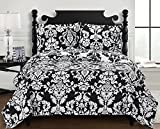 Catherine California-King Size, Over-Sized Coverlet 3pc set, Luxury Microfiber Printed Quilt by Royal Hotel