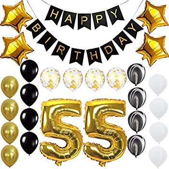 Happy 55th Birthday Banner Balloons Set For 55 Years Old Party Decoration Supplies Gold Black