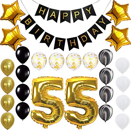 Happy 55th Birthday Banner Balloons Set for 55 Years Old Birthday Party Decoration Supplies Gold Black]()