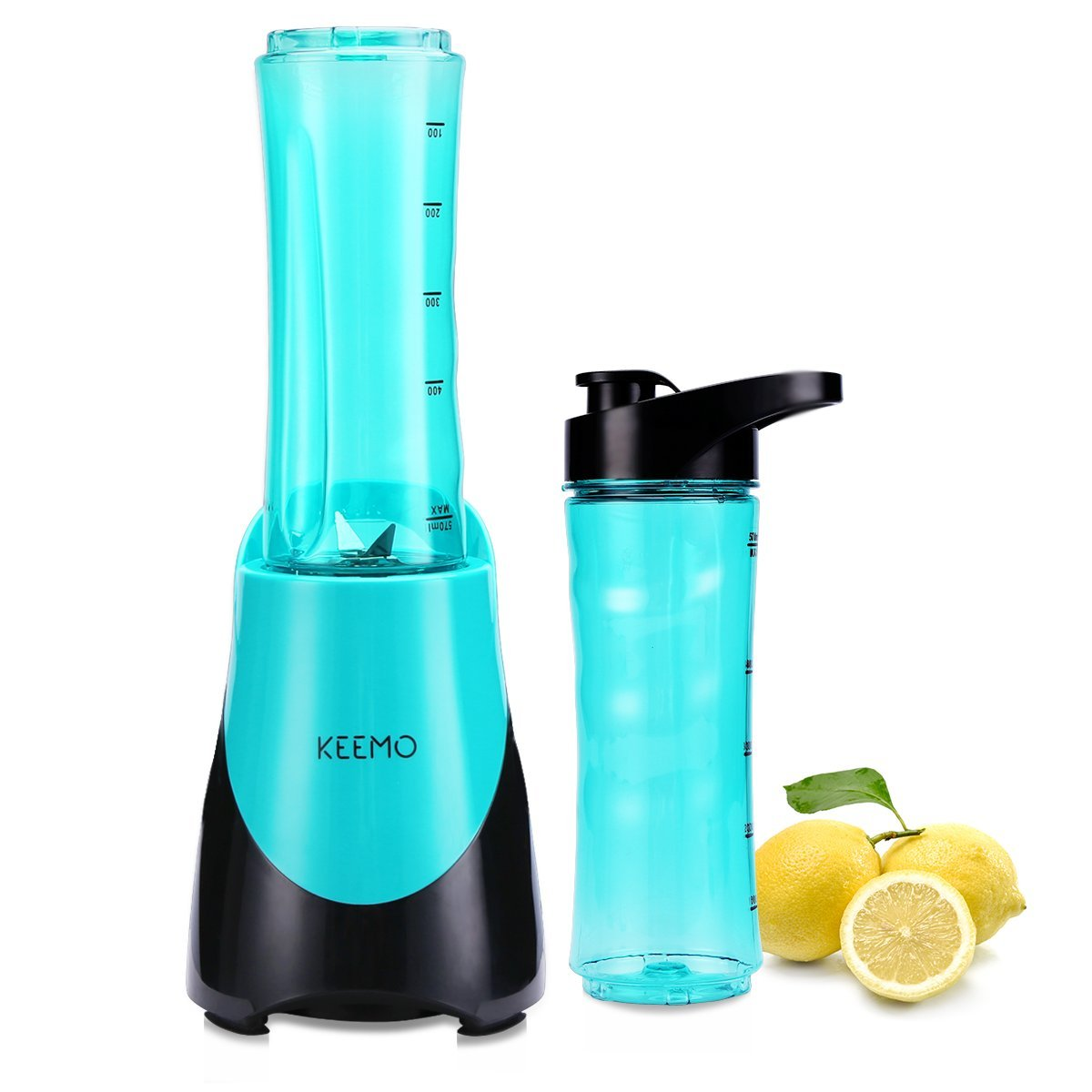 Blender For Shakes And Smoothies By KEEMO, Single Serve Blender 300W, Small Sport Blender With BPA Free Tritan 20 oz Travel Lids, Mini Portable Blender, Blue