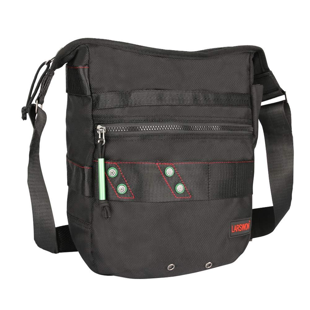 Vertical Messenger Bag, Crossbody Bag, Larswon Shoulder Bag Laptop Bag Satchel for Men Women Black