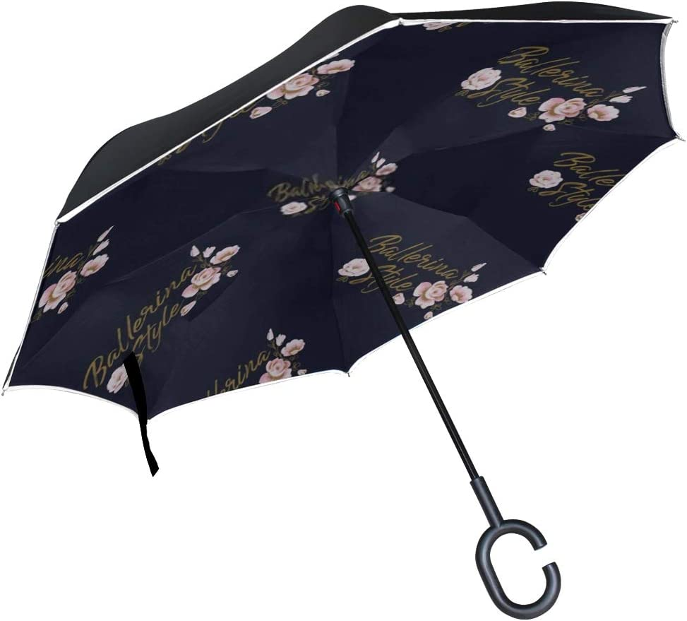 Double Layer Inverted Inverted Umbrella Is Light And Sturdy Cute Ballet Seamless Pattern Ballerina Slogan Reverse Umbrella And Windproof Umbrella Edg