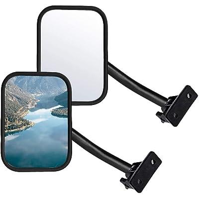 Adventure Door Hinge Mirrors Side View Shake-Proof Door Off Mirror for All Jeep Wrangler JK,JL(07-18), 2Pcs (Textured Black) (rectangle-4-straight)… (black1): Automotive
