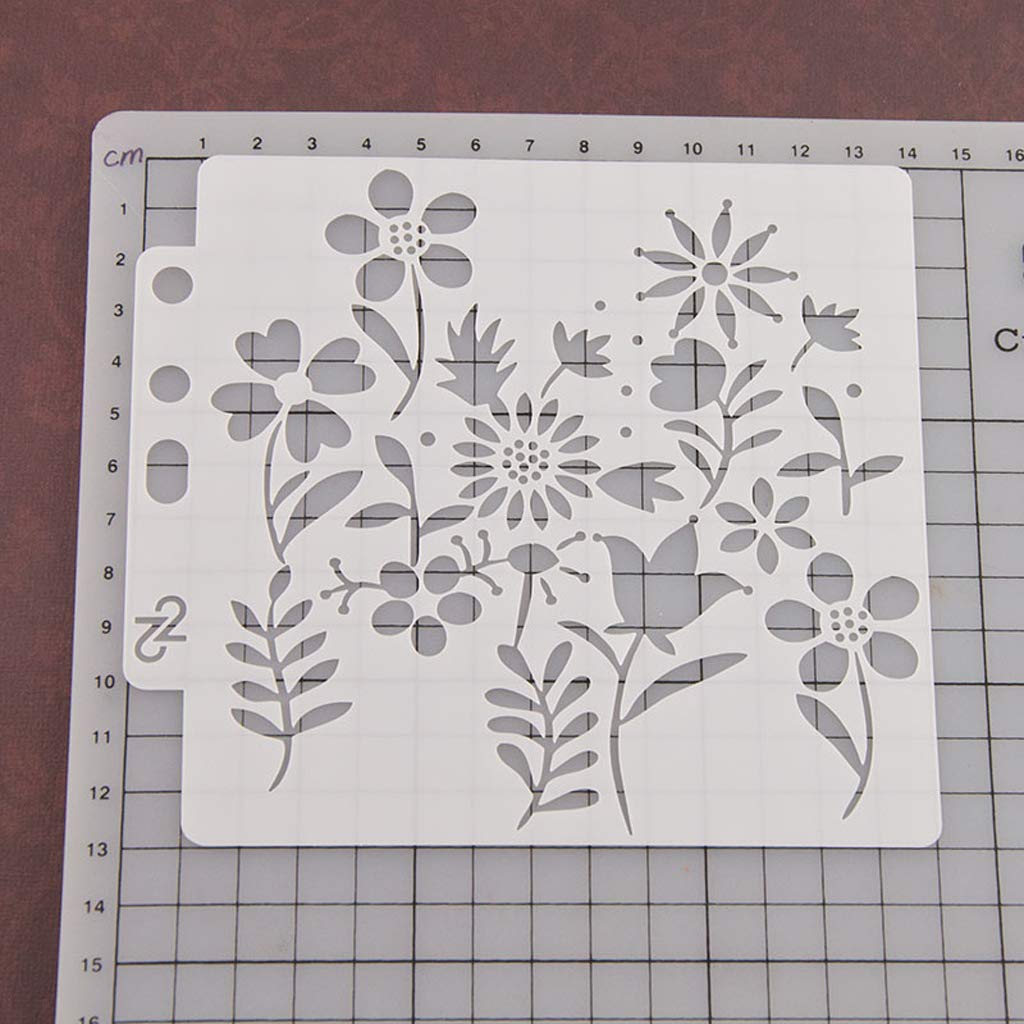 ShapeW Flower Bullet Journal Stencil Plastic Planner for Journal/Notebook / Diary/Scrapbook DIY Drawing Template Stencil -13X14CM by ShapeW (Image #3)