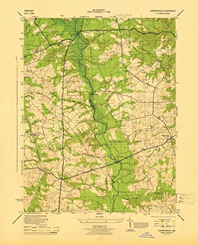 YellowMaps Davidsonville MD topo map, 1:31680 scale, 7.5 X 7.5 Minute, Historical, 1944, 21.8 x 17.6 IN - (Queen Anne Pin)