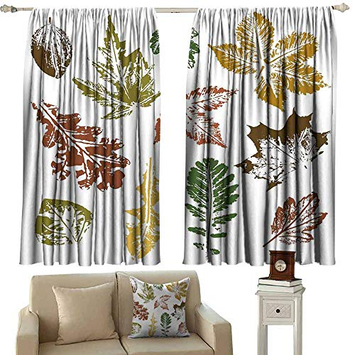 Decor Curtains Leaf Autumn Spring Maple Oak Various Tree Leaves in Grunge Style Art Tie Up Window Drapes Living Room W72 xL45 Burgundy Brown and Forest Green