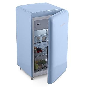 Klarstein PopArt Blue U2022 Kühlschrank U2022 Standkühlschrank U2022 Retro Look Der  50er U2022 108 Liter Volumen