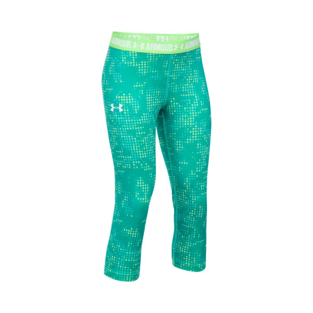 Under Armor Girls Heatgear Armour Printed Capris,Summer Lime/White, Youth Medium
