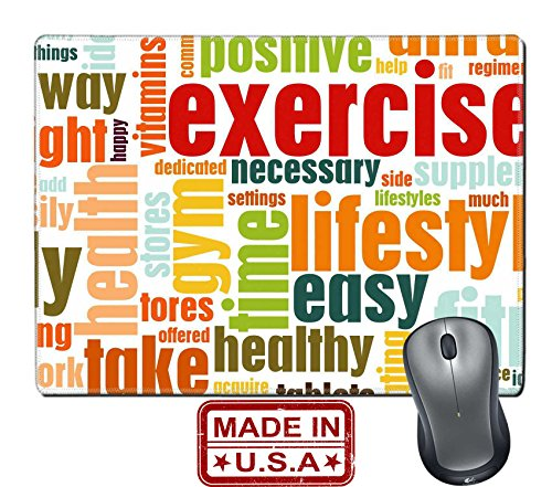 """Liili Natural Rubber Mouse Pad/Mat with Stitched Edges 9.8"""" x 7.9"""" IMAGE ID: 5716275 Exercise Fitness Lifestyle as a Background Art"""