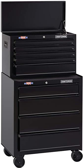 Amazon Com Craftsman Tool Cabinet With Tool Chest 26 Inch 8 Drawer Combo With Drawer Liner Roll Black Cmst82765bk Cmst82764bk Home Improvement