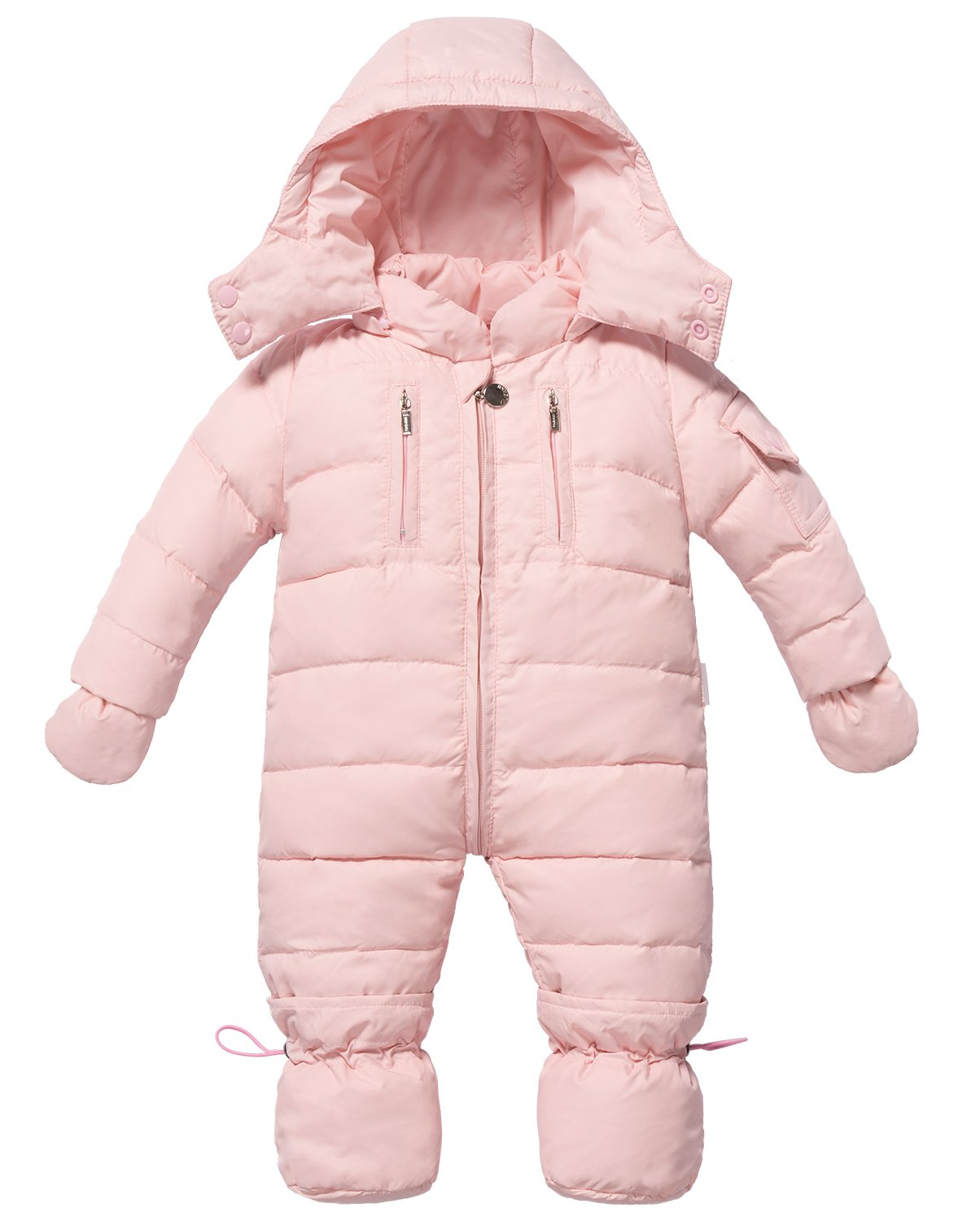 ZOEREA Infant Newborn Baby Hoodie Down Jacket Jumpsuit Pram Snuggly Snow Suit (Label 110/ Age 6-12 Months, Pink) by ZOEREA