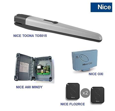 NICE Kit completo profesional motor batiente para puerta o cancela de garaje automática, motor Nice