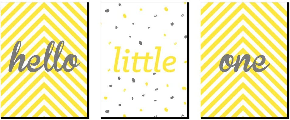 Gift Ideas Baby Girl or Boy Nursery Wall Art and Kids Room Decorations Set of 3 Prints Big Dot of Happiness Hello Little One Yellow and Gray 7.5 x 10 inches