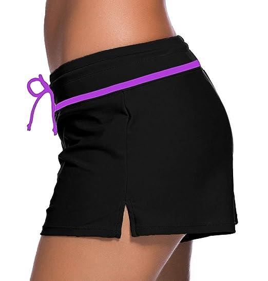 5716a1bd1d Sythyee Women's Swim Boardshorts Tankini Boyshorts Beach Bottom Swimsuit  Built in Briefs at Amazon Women's Clothing store: