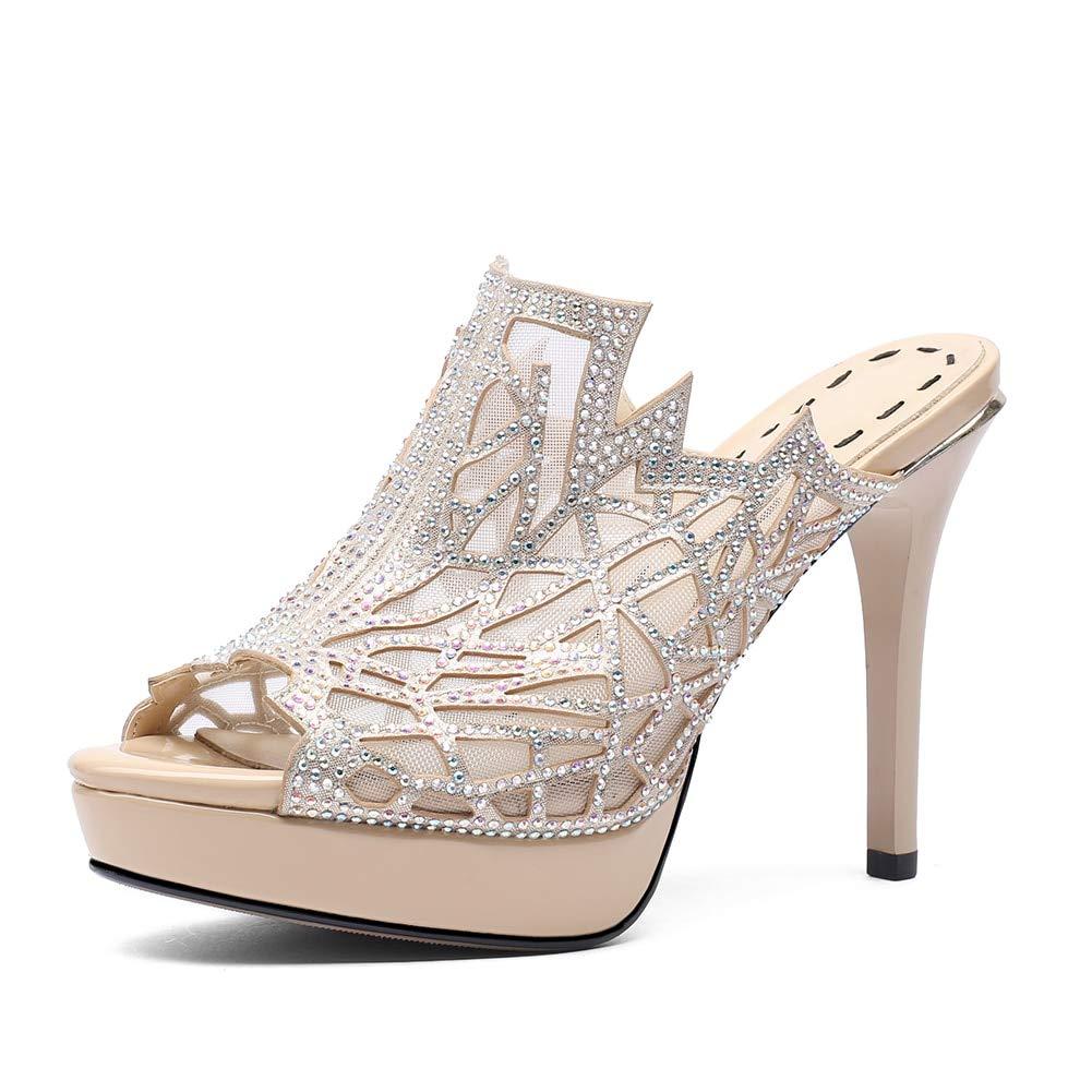 HOESCZS HOESCZS HOESCZS 2018 air mesh Kristalle plattform Sommer Mules Pumps Schuhe Frau Peep Toe dünne High Heels Party Frauen Schuhe e7542e