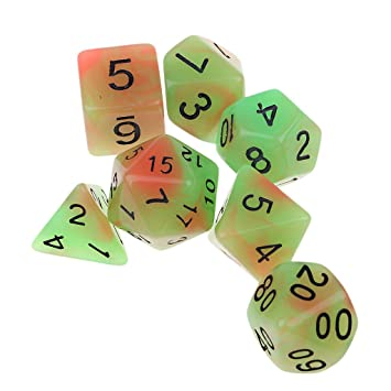 B Blesiya 7X Dados Luminosos para Dungeons and Dragons Juego de ...