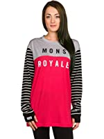 Mons Royale Stripes-Pink-Grey Marl Boyfriend Womens Long Sleeved Baselayer Top