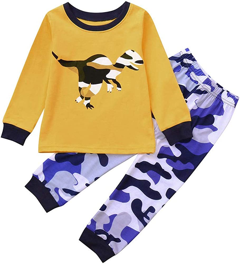 1-5T Toddler Kids Baby Dinosaur Pajamas Set Long Sleeve Tops T Shirt Blouse Pants Clothes Outfit Set