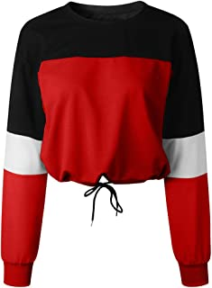 Zalanala Womens Long Sleeve Splcing Color Sweatshirt Pullover with Drawstrings Tops Blouse