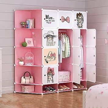 ANIUXIAOGE Fille Enfant Armoire Rangement Assemblage Chambre Dortoir Chambre  Simple Armoire Simple En Plastique 147 *