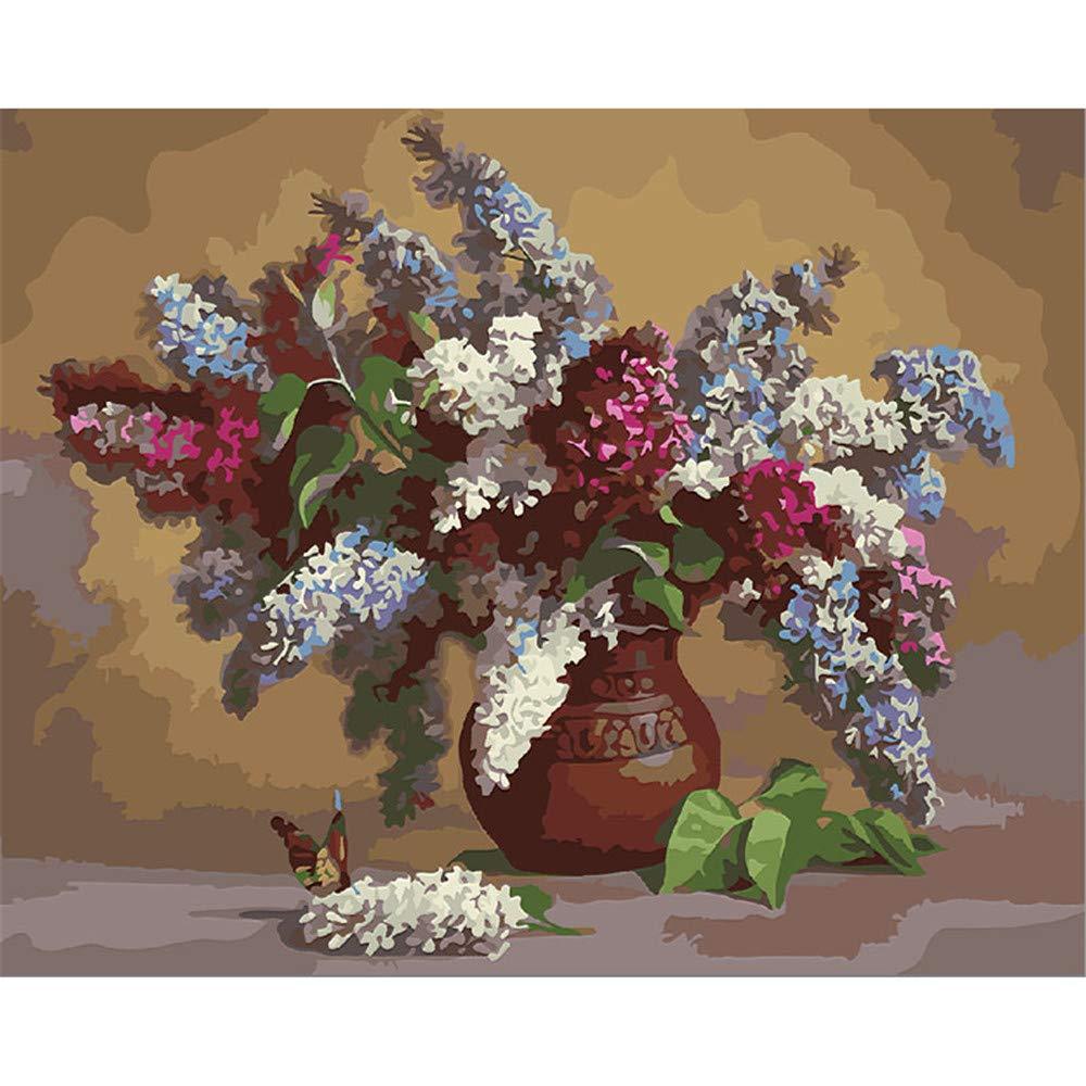 Malen Nach Zahlen Lila Rot Weiß Lavendel Und Vintage Vase Home Decor Für Erwachsene DIY-Framed B07NWMMTQW | Smart
