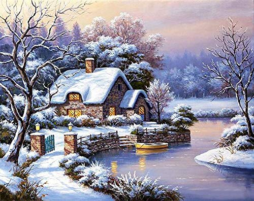 New 5D Diamond Painting Kits for Adults Kids, Awesocrafts Snow Country House Forest Boat Full Drill DIY Diamond Art Embroidery Paint by Numbers with Diamonds (Country4)