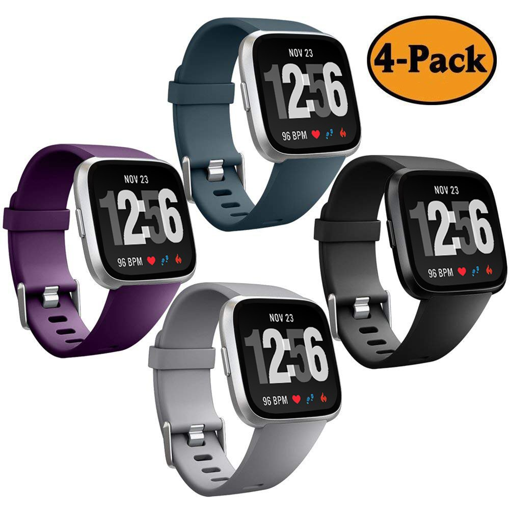 Geak for Fitbit Versa帯、クラシック交換用バンドfor Fitbit Versa Small Large 4パック B07CKW2B8C 10 Gray Plum Slateblue Black Large