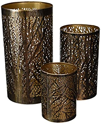 "Deco Metal Hurricane Home Decor, 12 x 9 x 5"", Bronze Brass with Black (Set of 3)"