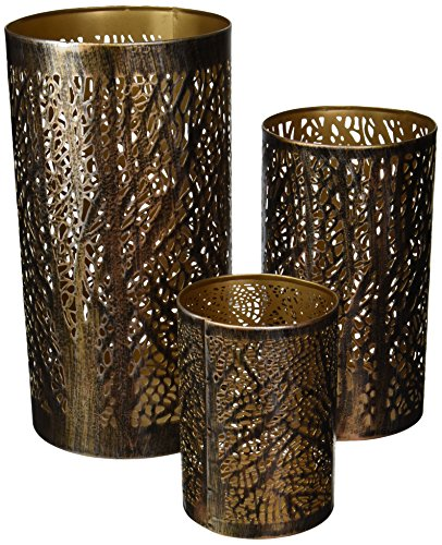 Metal Hurricane Home Decor, 12 by 9 by 5-Inch, Bronze Brass with Black, Set of 3 (Furniture Like Plastic Looks That Wood Garden)