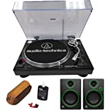 Audio-Technica Professional Stereo Turntable w/ USB LP to DIG Recording Piano Black (AT-LP120BK-USB) with Record Cleaning Fluid and Mackie Creative Reference Multimedia Monitors (Pair)