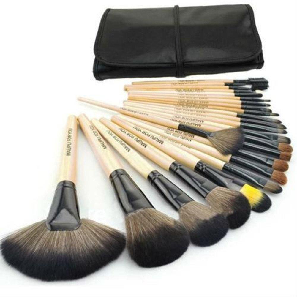 SunJas Schminkpinsel, Profi Kosmetik Pinsel, Make Up Bürste, Eyeliner, 24tlg/Set, Rosa/Schwarz/Holz Make Up Bürste