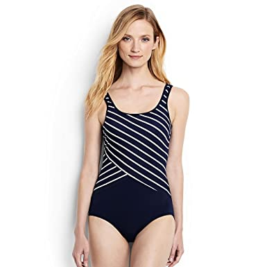 e5400ee70e7 Amazon.com  Lands  End Women s Tugless One Piece Swimsuit Soft Cup ...