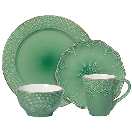 Pfaltzgraff French Lace Green Dinnerware Set (16 Piece) Green  sc 1 st  Amazon.com : dinnerware sets green - pezcame.com