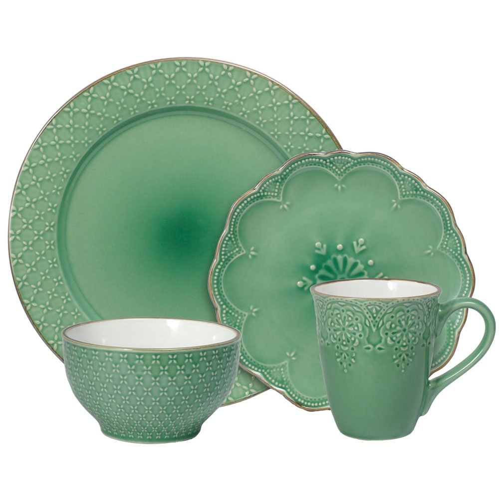 Pfaltzgraff French Lace Green Dinnerware Set (16 Piece), Green