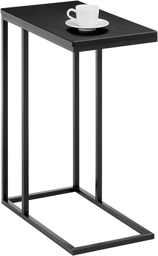 IDIMEX Beistelltisch Debora Wohnzimmertisch Couchtisch rechteckig, Metallgestell, MDF Tischplatte im Retro Stil, schwarz