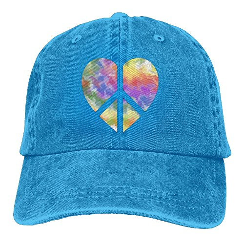 Arsmt Glitter Rainbow Heart Peace Sign Denim Hat Adjustable Men's Tactical Baseball ()