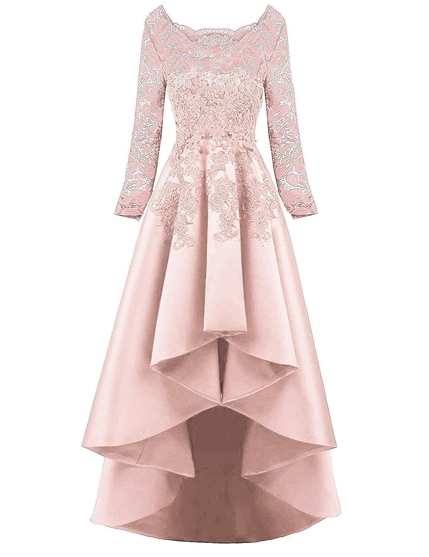 HelloLadyBridal Women's Hi-Lo Lace Appliques Prom Dresses Satin Evening Party Gowns MX113Black A-us2