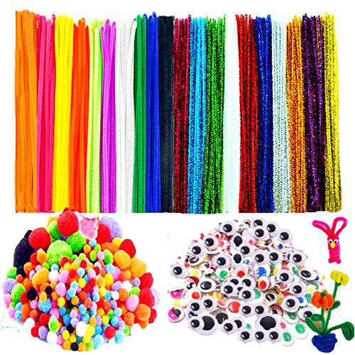 700Pcs Pipe Cleaners Set - Kids Craft Supplies - Includes 100Pcs Pipe Cleaners,100Pcs Sparkly Pipe Cleaners, 250Pcs Wiggle Eyes and 250Pcs Pompoms for DIY School Projects Decorations by BellaBetty (Supplies Crafts Kids)