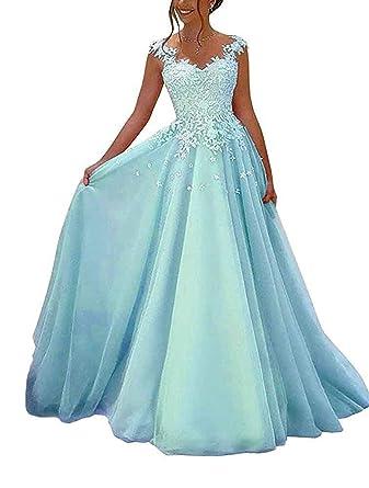 72c7eb780528 NUOJIA Damen Prinzessin Ballkleider Lange mit Appliques Party Kleid   Amazon.de  Bekleidung