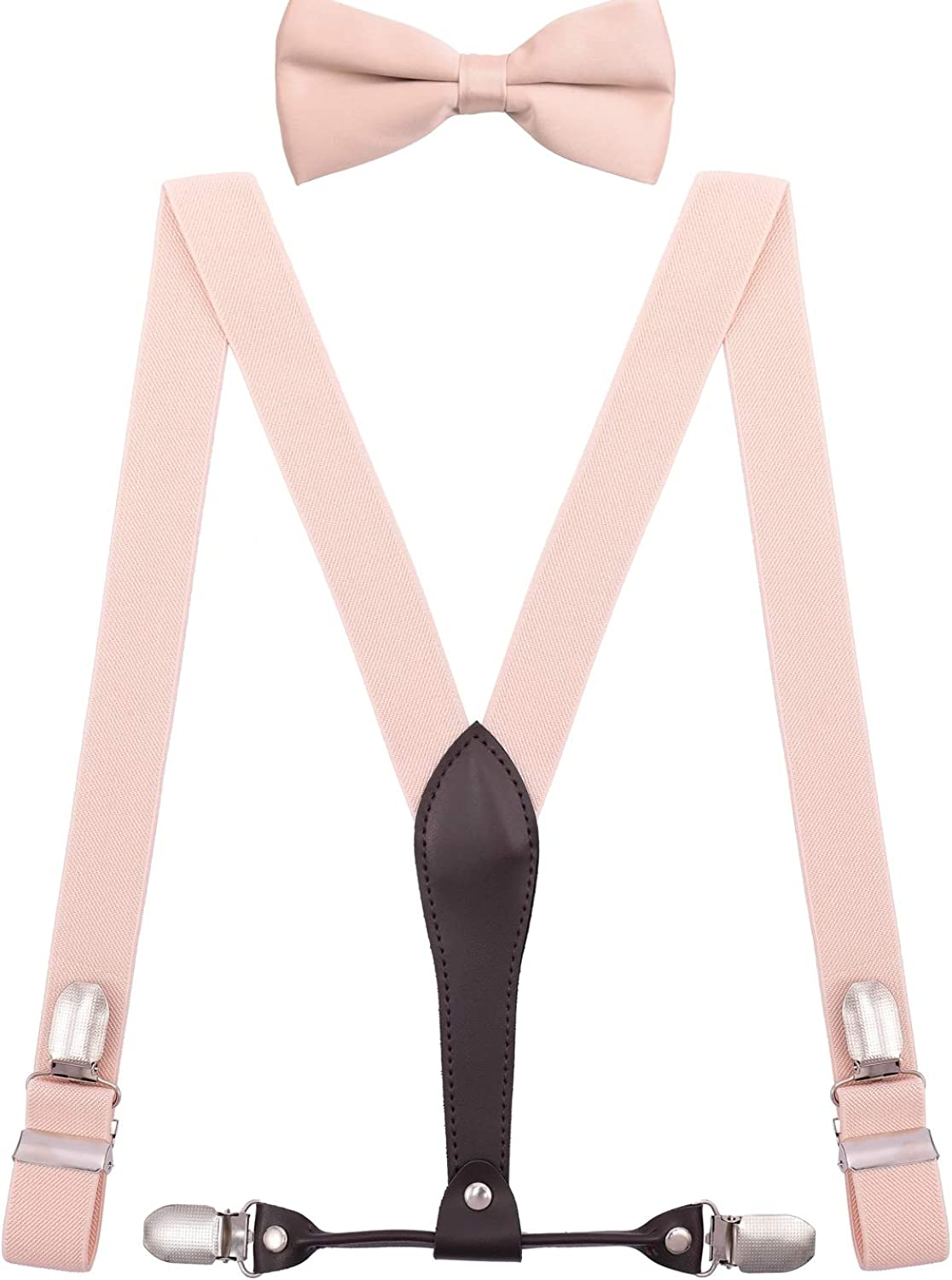 BODY STRENTH Mens Boys Bowtie and Suspenders Adjustable with 4 Strong Clips