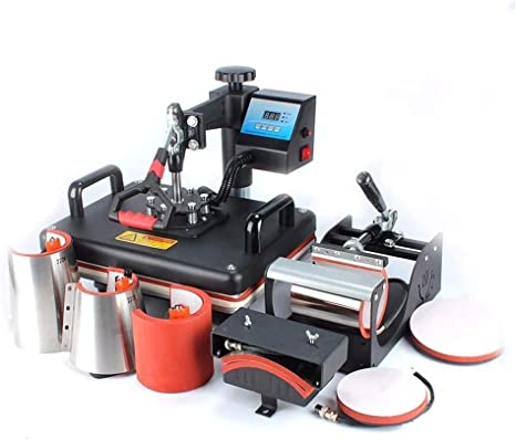 SUPER DEAL Digital Swing Away Heat Press Clamshell Transfer Machine for T-Shirt 5 in 1 Hats Mugs and Plates