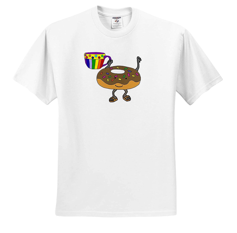 3dRose All Smiles Art Funny Cute Donut Man Drinking Coffee Cartoon Funny ts/_315972 Adult T-Shirt XL