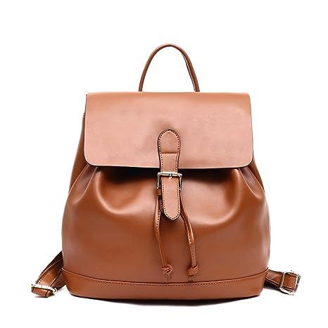 nuovo stile 50d50 c8f52 Zaino Donna Marrone Elegante in Vera Pelle Casual Borsa Zainetti Coulisse  Scuola Cuoio Tracolla Grande Backpack per Ragazze