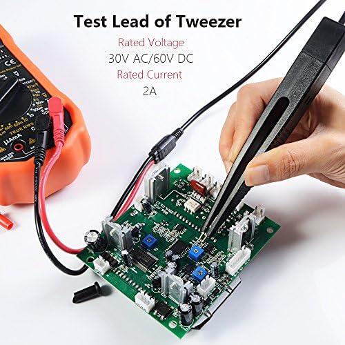 Test di Hook connettori a banana Multimetro Test Lead Set nero SMD Test Morsetti Test Cavo Set con mini morsetti a coccodrillo Sonda