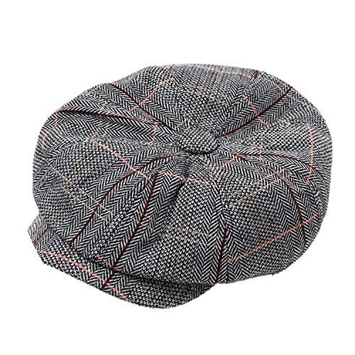 Glittering time-Wool Hat 1pc Fashion Men's Cotton Blend Striped Cabbie Newsboy Cap,Gray (Mens Capilene 1 Bottoms)