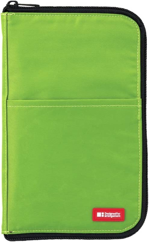 LIHITLAB LAB Slim Pen/Pencil Pouch, Wide, 0.7 × 5.5 × 8.5 Inches, Yellow Green (A7653-6)